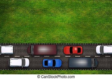 自動車, 道, イラスト