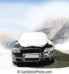 自動車, 道, 山