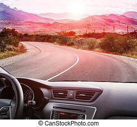 自動車, 道, 山, 行く