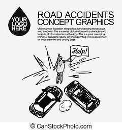自動車, 道, incident., accident., 衝突される
