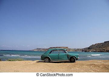 自動車, 錆ついた, 浜, 古い, 駐車される