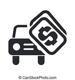 自動車, 隔離された, イラスト, セール, 単一, ベクトル, アイコン