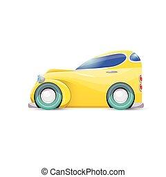自動車, 隔離された, ベクトル, オレンジ, 白, 漫画