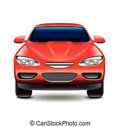 自動車, 隔離された, ベクトル, 前部, 白い赤, 光景