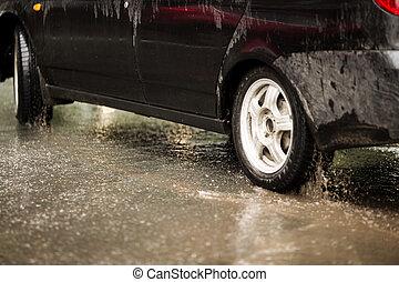 自動車, 雨の日, 汚い