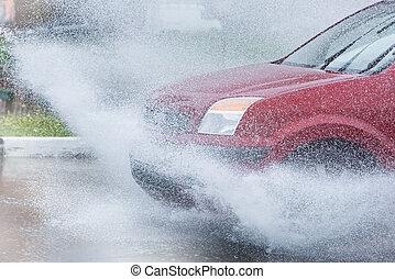 自動車, 雨, 水たまり, はねている水