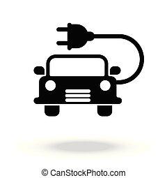 自動車, 電気である, アイコン, ベクトル