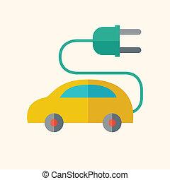自動車, 電気である, 平ら, アイコン