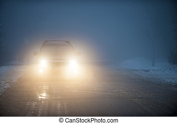 自動車, 霧, 運転, ヘッドライト