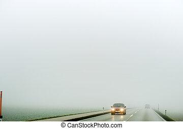 自動車, 霧, 道