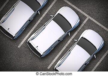 自動車, 駐車される, の上