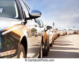 自動車, 駐車される, 横列