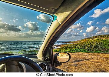 自動車, 駐車される, 海