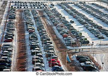 自動車, 駐車, 中に, 冬季