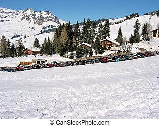 自動車, 駐車, 中に, swiss alps