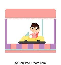 自動車, 黄色, ラジオ, 乗馬, 微笑, 子供, 幸せ
