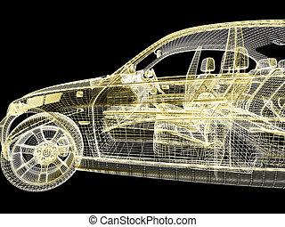 自動車, 黒, モデル, 背景, 3d