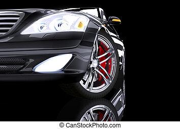 自動車, 黒, 前部, 威信, サイド光景