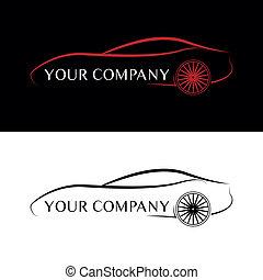 自動車, 黒, 赤, ロゴ