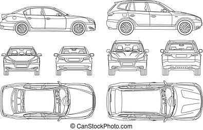 自動車, 4, ドロー, 保険, 損害, 光景, 背中, すべて, 側, 上, 形態, 線, 青写真, レポート, 状態, 賃貸料, セダン, suv