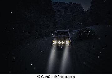 自動車, 4x4, 砂漠, ライト