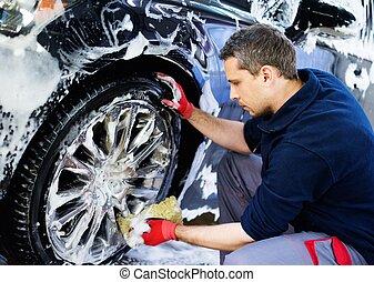 自動車, car's, 合金, 洗浄, 人, 洗いなさい, 車輪, 労働者