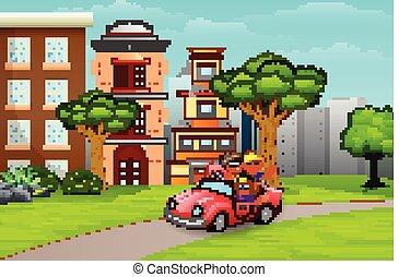 自動車, cityside, 乗馬, 子供, 道, 幸せ