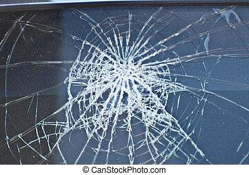 自動車, crashed., 窓, 前部