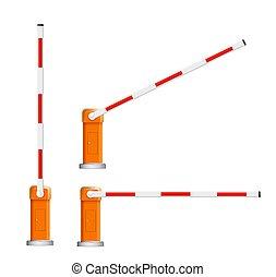 自動車, flock., barriers., 障壁, 開いた, 白, 詳しい, イラスト, 赤, 閉じられた