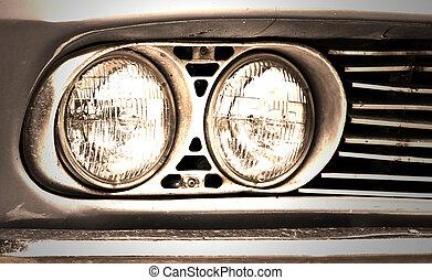 自動車, headlight., クラシック