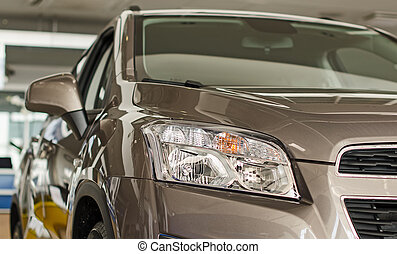自動車, salon., 販売会社, 灰色, 新しい