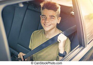 自動車, seatbelt, 子供