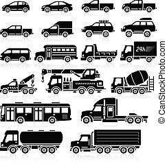 自動車, set., ベクトル, イラスト, アイコン