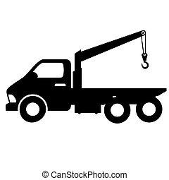自動車, towing, トラック, シルエット