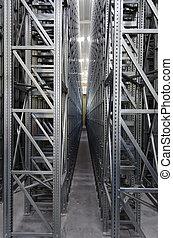 自動, 棚, システム, 中に, a, ロジスティックである, 倉庫