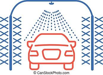 自動, 自動車, 円筒状である, 洗いなさい, 光景, 自動車, スプリンクラー, アイコン, ブラシ, 前部