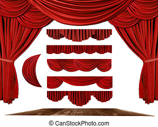 自己, 劇院, 建立, 窗簾, 背景, 你, 元素, 階段