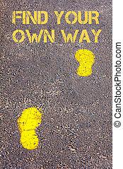 自己, 黃色, 發現, 朝向, 人行道, 方式, 消息, 腳步, 你