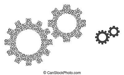 自己, gearwheels, コラージュ, アイコン, recursion