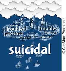 自殺, 単語,  attempted, 自殺, 致命的, ショー