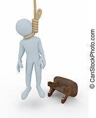 自殺, gallows, 隔離された, バックグラウンド。, 白, 人