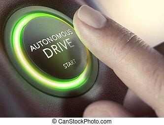 自治, self-driving, ドライブしなさい, 車