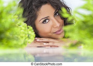自然の健康, 概念, 美しい女性, 微笑