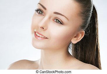 自然の美しさ, 健康, 新鮮さ, makeup., girl., skin., 魅力的