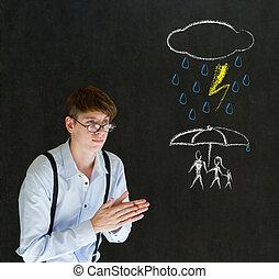 自然災害, 家族, 黒板, 背景, ビジネスマン, 保護, 保険