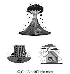 自然災害, stock., オブジェクト, 隔離された, コレクション, シンボル。, ビットマップ, 危険, アイコン
