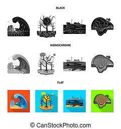 自然災害, stock., シンボル。, コレクション, ビットマップ, デザイン, 危険, アイコン