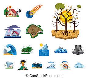 自然災害, stock., 印。, オブジェクト, 隔離された, コレクション, ビットマップ, 危険, アイコン