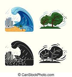 自然災害, stock., 彙整, 矢量, 插圖, icon., 風險, 圖象
