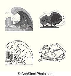 自然災害, stock., 彙整, 矢量, 插圖, logo., 風險, 圖象